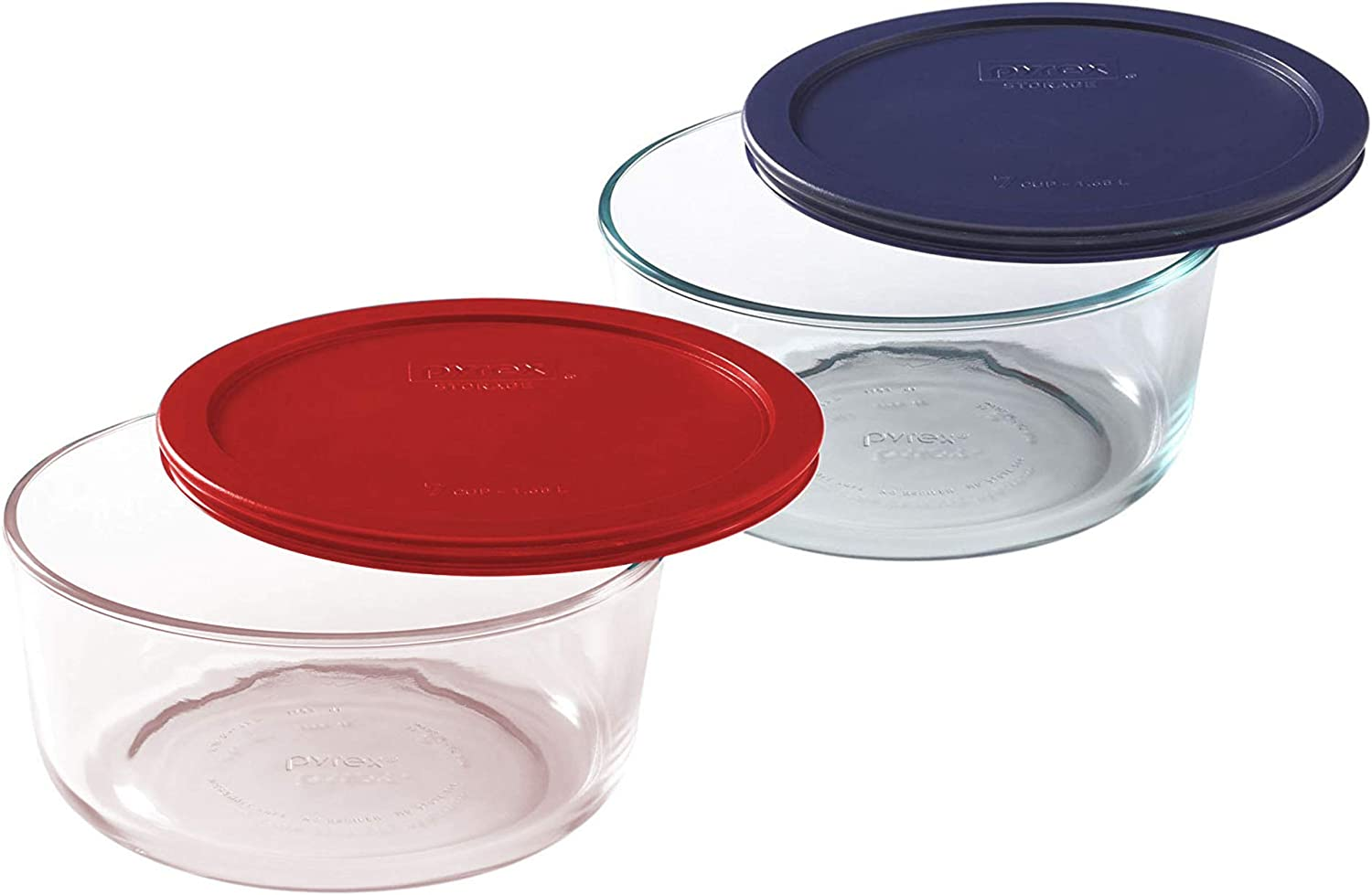 Pyrex Storage 7 Cup Round Dish, Clear with Red + Blue Plastic Lids, Pack of 2 Containers