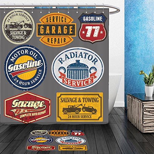 Vanfan Bathroom 2Suits 1 Shower Curtains & 1 Floor Mats vintage automotive labels and signs set 116549308 From Bath room - Echelon Echelon Shower Locker