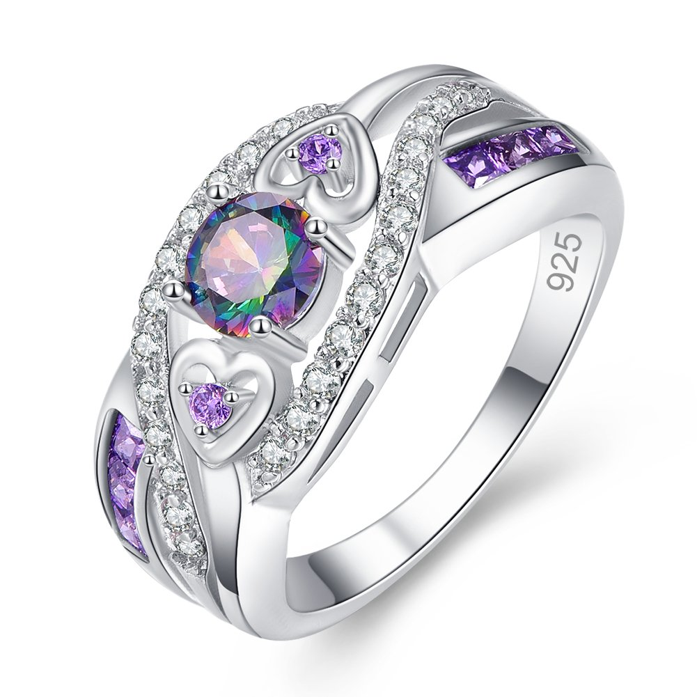 Veunora Graduation Gift 925 Sterling Silver Created 5x5mm Rainbow Topaz Amethyst Filled Twisted Ring Band Women