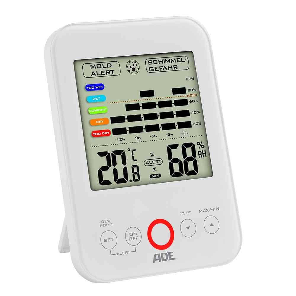 ADE Digital Hygrometer WS 1500 White with Visual Alarm (White)