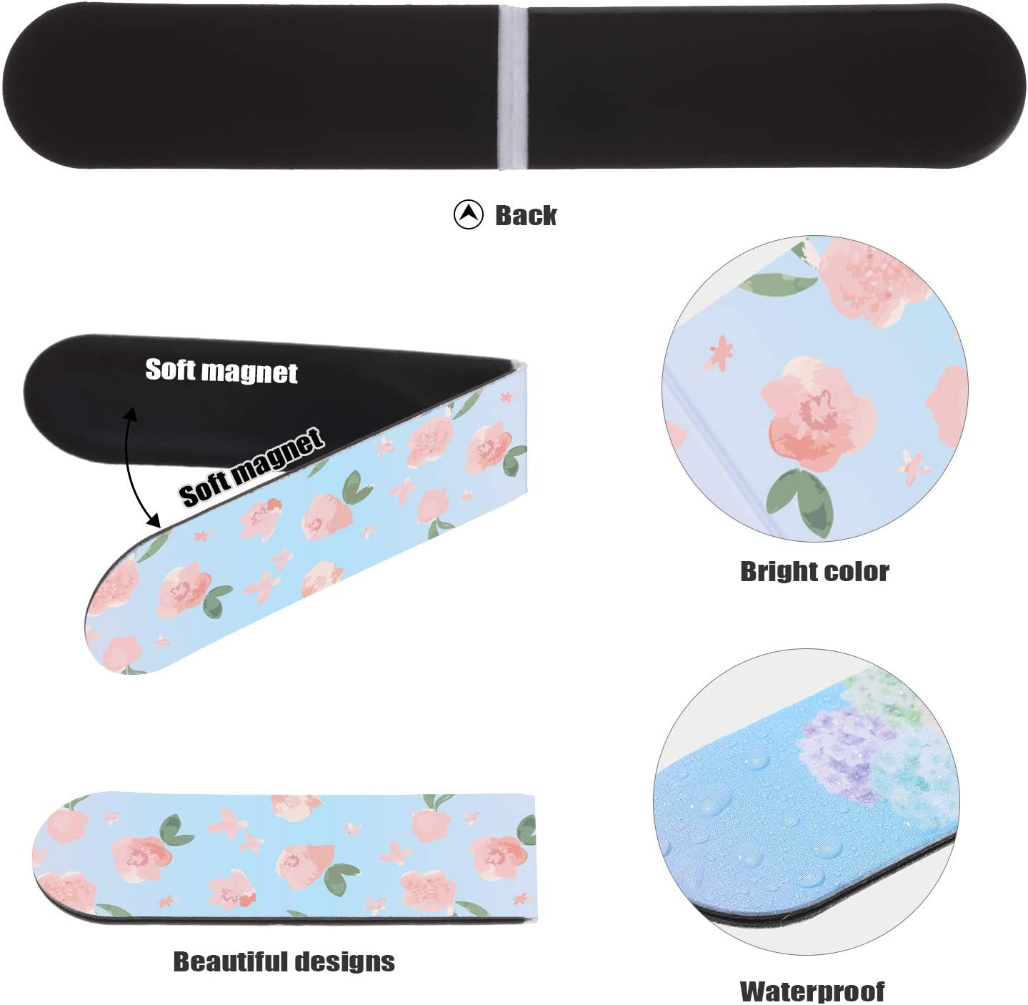 48 Pieces Floral Magnetic Bookmarks Cute Magnet Page Markers Magnetic Page Clips for Kids Adults Reading Stationery 16 Colorful Design
