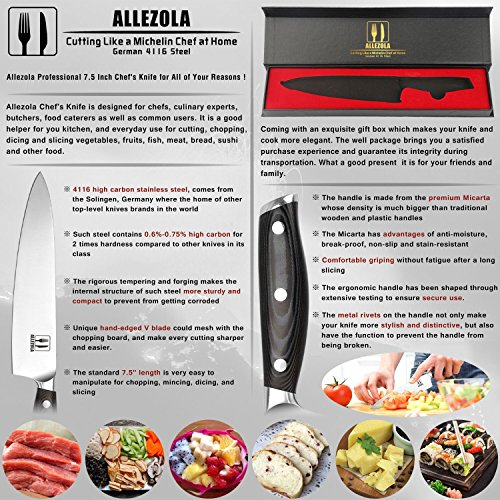 Allezola 7.5 Inch Professional Chef Knife Kitchen Knives German High Carbon Stainless Steel with Ergonomic Handle, Cooking knife for Home and Restaurant by Allezola (Image #1)'