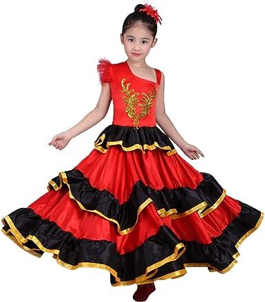 LOLANTA Vestido de Flamenco español Rojo para niñas Disfraz de ...