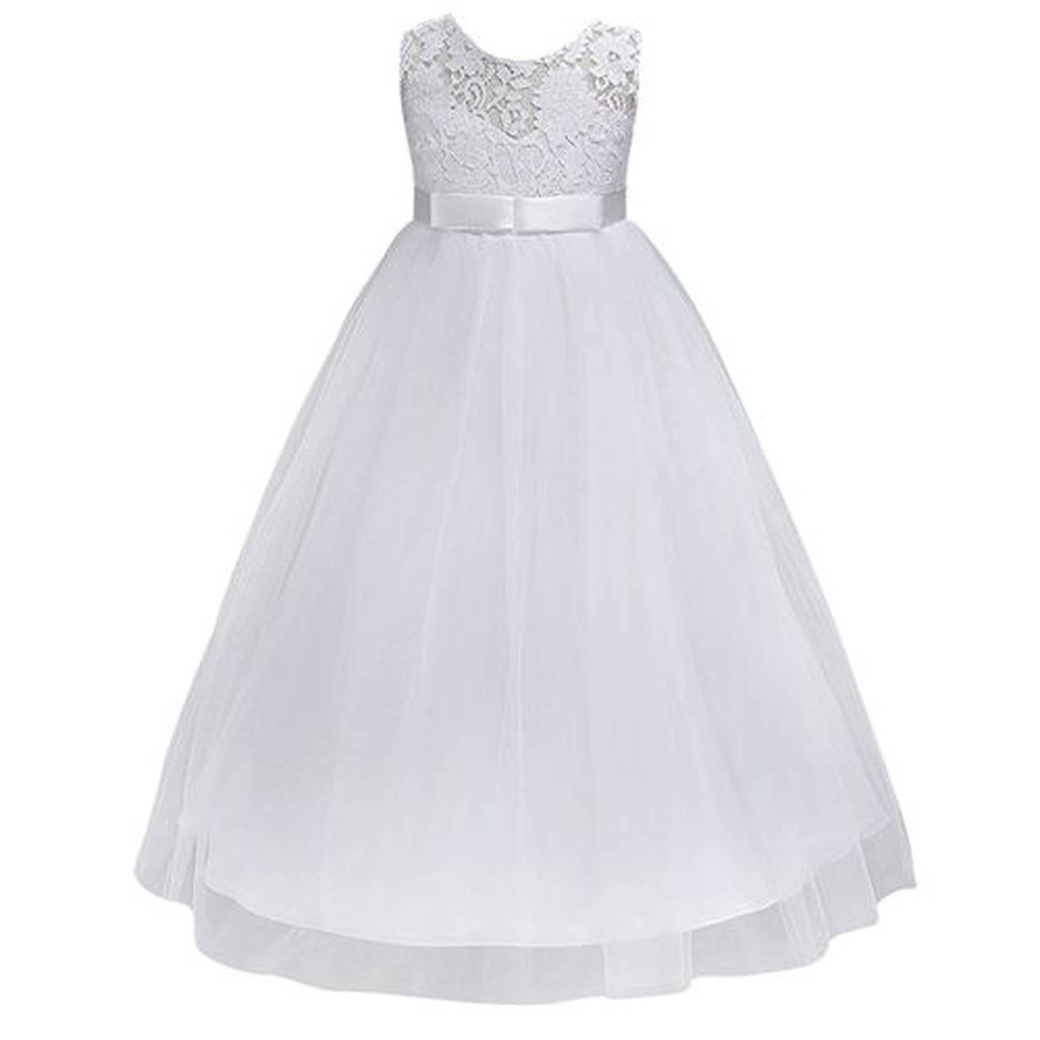 Toping Fine girl dress Petites Filles Robes Princess Lace Flower Girl Girls Pageant Dresses,White,Child-11