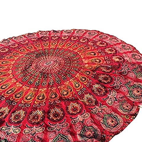 Baiyu Indian Mandala Round Beach Throw Tapestry Chiffon Roundie Circular Hippy Boho Gypsy Tablecloth Beach Towel, Round Yoga Mat--Diameter 150cm--Style - Cotton Indian Rug