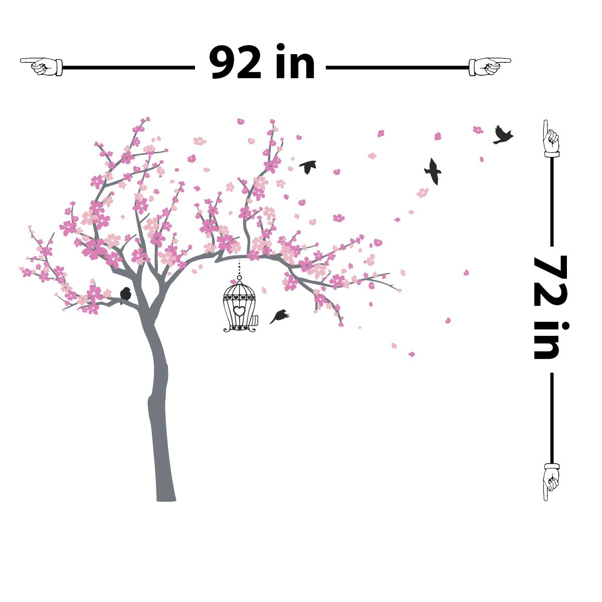 Japanese Cherry Blossom Birdhouse and Tree Large Wall Decal Sticker DIY Nursery Room Decor Art, Shades of Pink, 72x92 inches by The Decal Guru (Image #1)