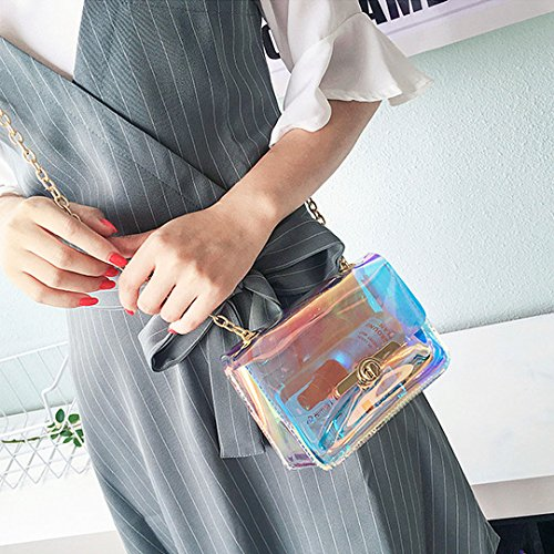 Party Novias Bucket Women Ladies Fashion Bag Boutique Holograhic Transparent3 Shoulder ZpYApqUBT