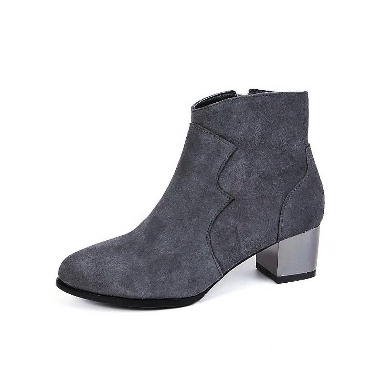 BalaMasa Womens Chunky Heels Zipper Round Toe Imitated Leather Boots