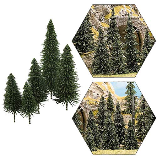 S0804 40pcs Dark Green Pine Model Cedar Trees 2.05-4.96 inch (52-126 mm) for Model Railroad Scenery Landscape Layout HO OO Scale New (Scale O Trees)