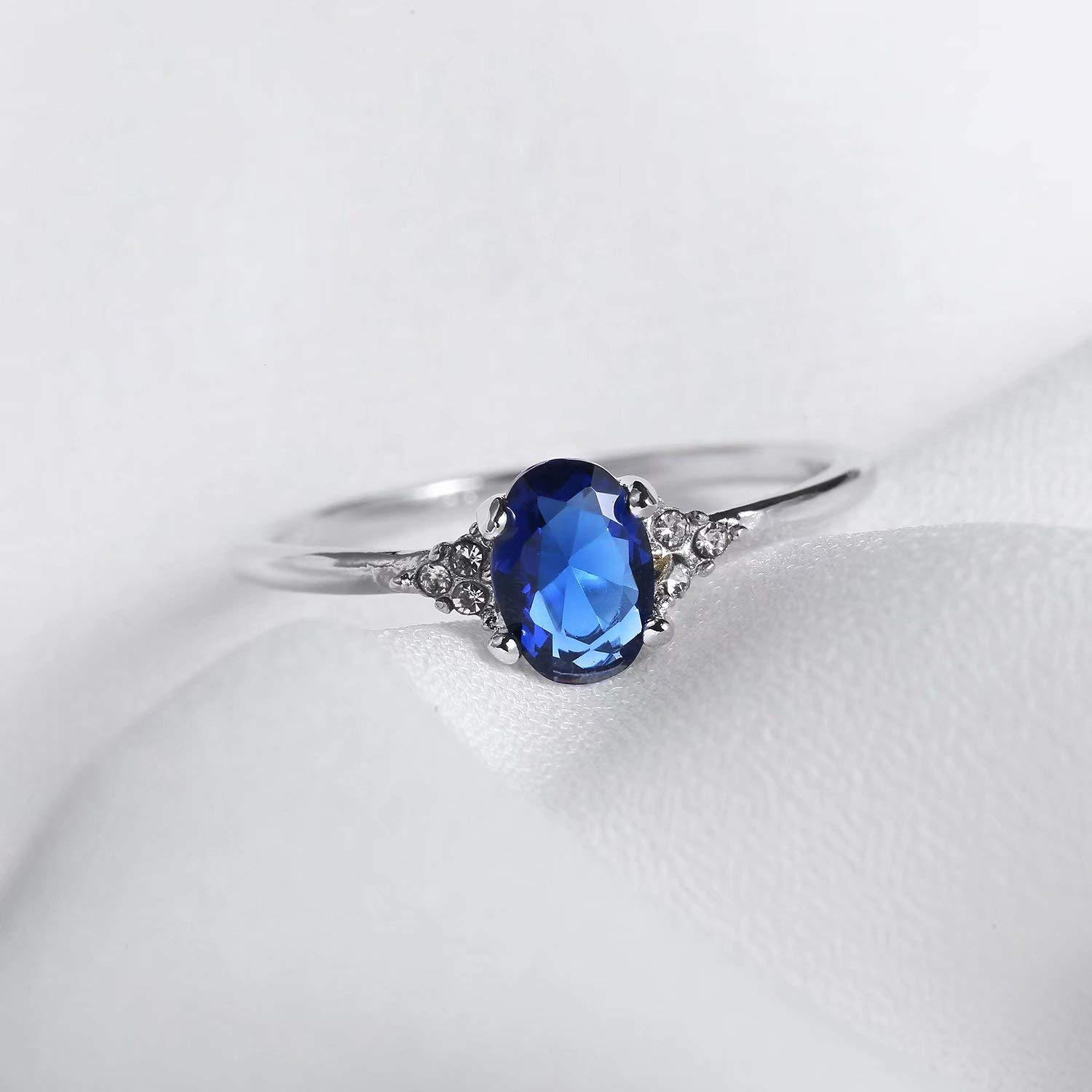 SR Sterling Silver Oval 0.9ct Created Sapphire Solitaire Style Engagement Ring Sizes 5-9