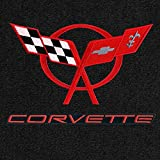 Lloyd Mats - Ultimat Black 3PC Floor Mats For Corvette Coupe 1997-04 with Red C5 Flags and Corvette Lettering Applique