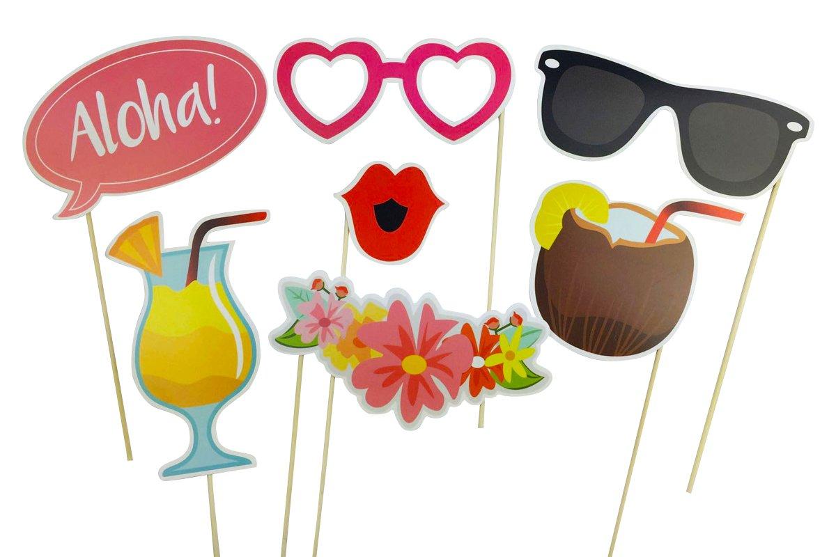 Homankit 21/pcs color/é Flamingo Hawaii photomaton les f/êtes danniversaire dipl/ôme et festivals Selfie Parfait DIY Accessoires pour les soir/ées /à th/ème hawa/ïen mariage