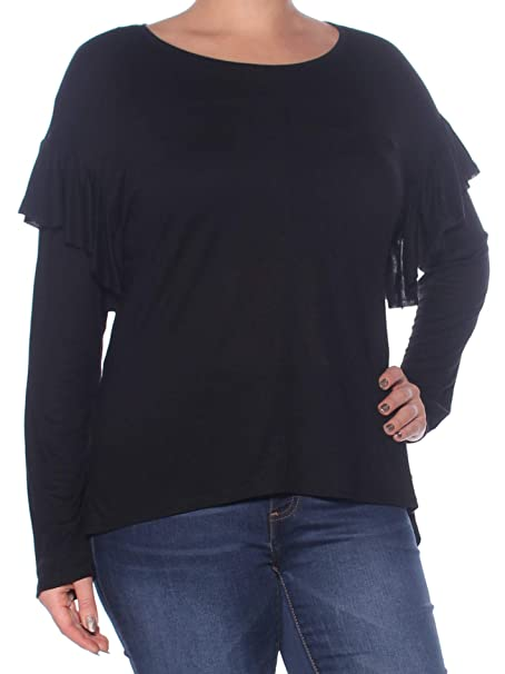 8aba18f2470bb2 TWO $59 Womens New 1110 Black Ruffled Scoop Neck Long Sleeve Casual ...