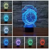 Geekercity 3D Optical Illusion Desk Lamp Night Light, 7 Colors Changing Touch Switch Table Home Decoration Nightlight for Bedroom Kids Room, Christmas Gifts (Clock)