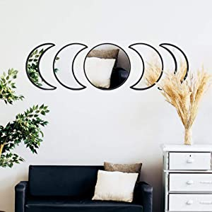 5&3pcs Scandinavian Natural Decor Acrylic Moonphase Mirrors Interior Design Wooden Moon Phase Mirror Bohemian Wall Decoration for Home Living Room Bedroom Decor - No Need to Punch-black-5set