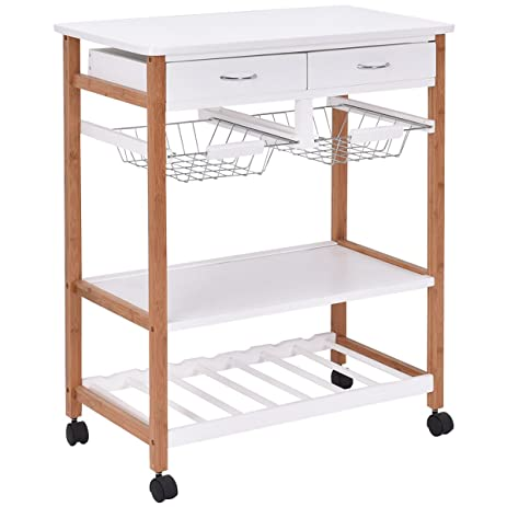 rack rolling kitchen trolley storage wine wood cart island basket w drawers amazon com   rack rolling kitchen trolley storage wine wood cart      rh   amazon com