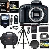 Canon EOS REBEL T7i Camera Body, Lexar 64GB Memory Card, Polaroid Tripod, Ritz Gear SLR Camera Bag, Polaroid UV Filter, Flash and Accessory Bundle