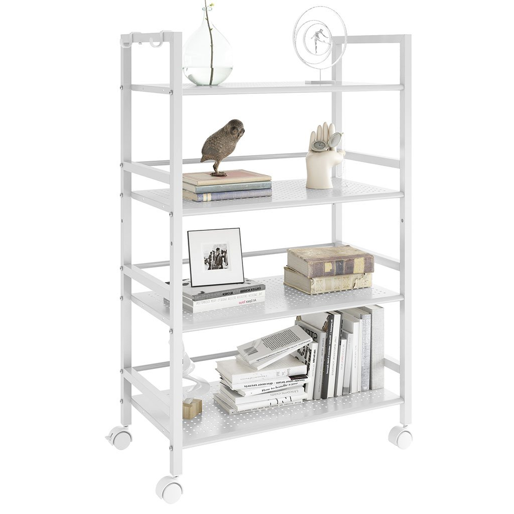 LANGRIA 4-Tier Kitchen Microwave Oven Rack Shelving Unit Microwave Shelves, Adjustable Microwave Storage Shelf with Wire Mesh Shelves Storage Rack, Ivory White