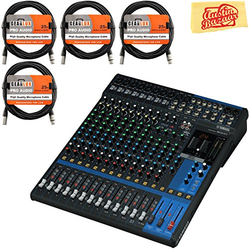 Bus Console 8 Recording (Yamaha MG16XU Mixer Bundle with XLR Cables and Polishing Cloth)