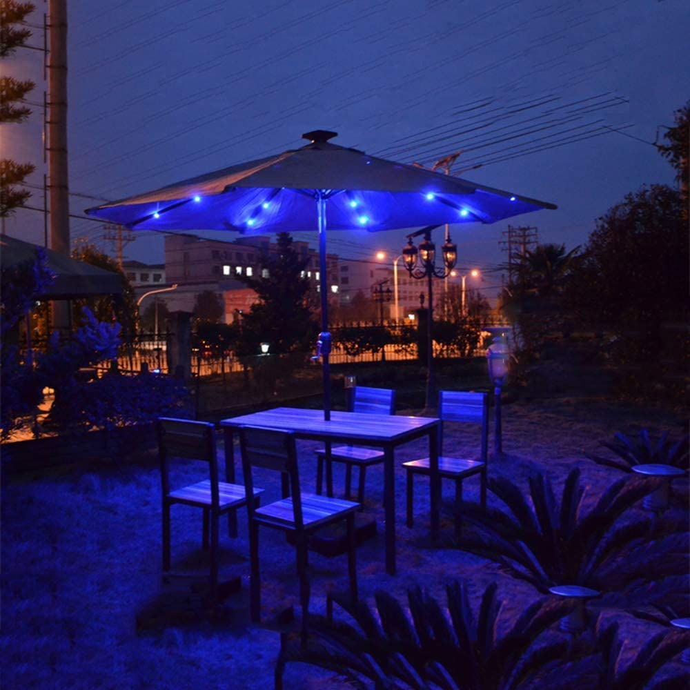 ZDW 10Ft Patio Sombrilla Luces Solar Led Impermeable Sombrilla de mesa al aire libre con botón pulsador Inclinación y Crankrk Sombrilla exterior Sombrilla portátil,rojo,luz amarilla