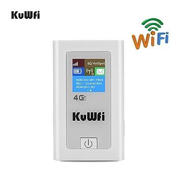 KuWFi Router Móvil 4G LTE, Desbloqueado 150Mbps 4G WiFi Router 3G 4G LTE inalámbrico Hotspot Mifi Dongle Car Wi-Fi Router con Ranura para Tarjeta SIM ...