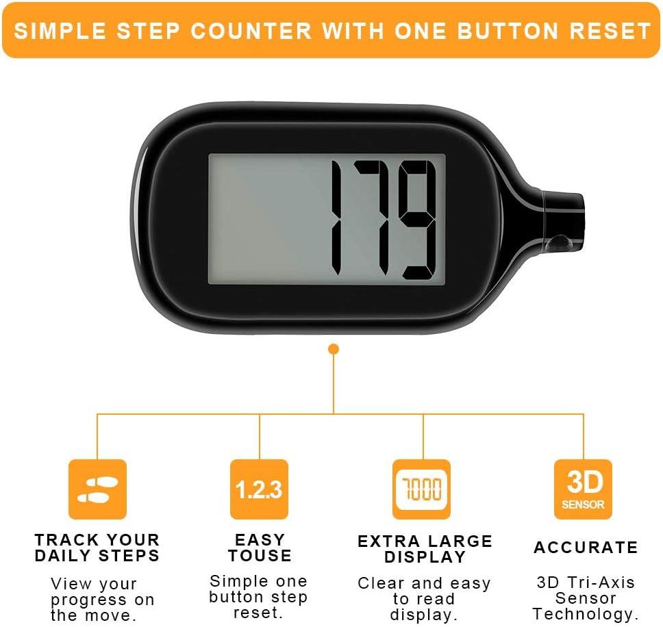 Amazon.com: Podómetro 3D para caminar con contador de pasos ...