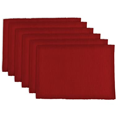 DII 100% Cotton, Ribbed 13x 19 Everyday Basic Placemat Set of 6, Tango Red