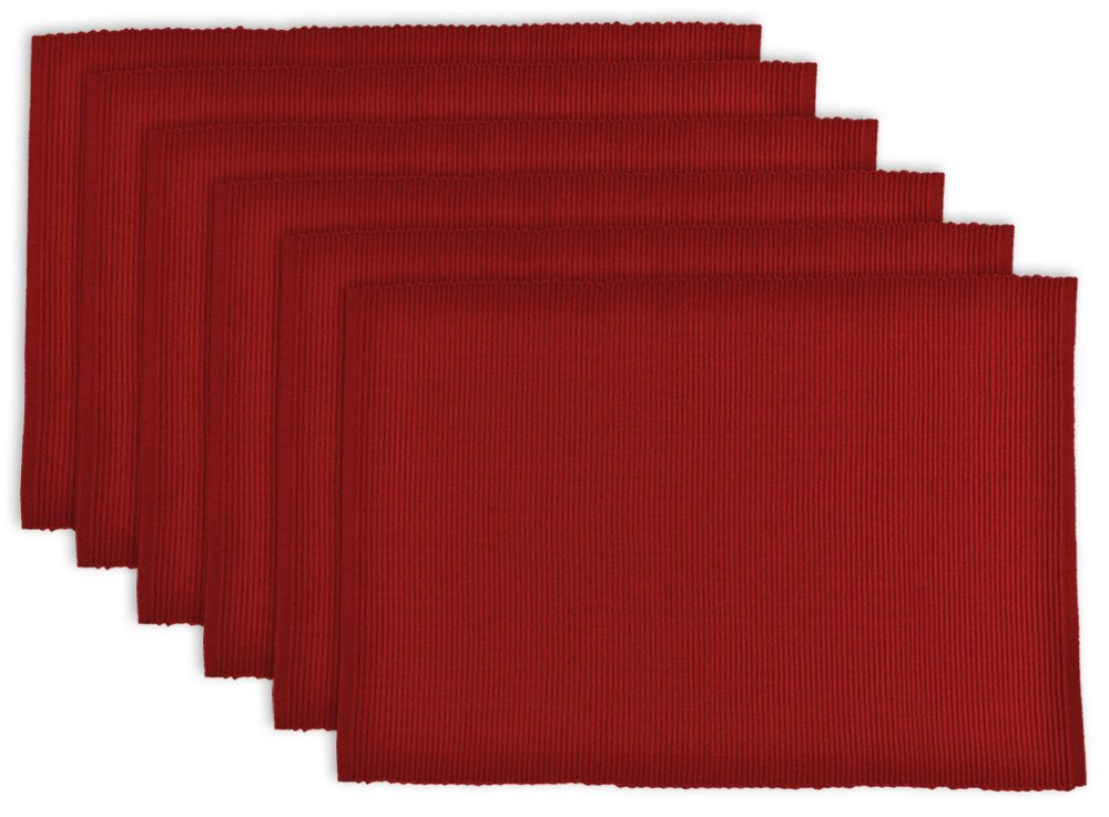DII 100% Cotton, Ribbed 13x 19 Everyday Basic Placemat Set of 6, Tango Red by DII