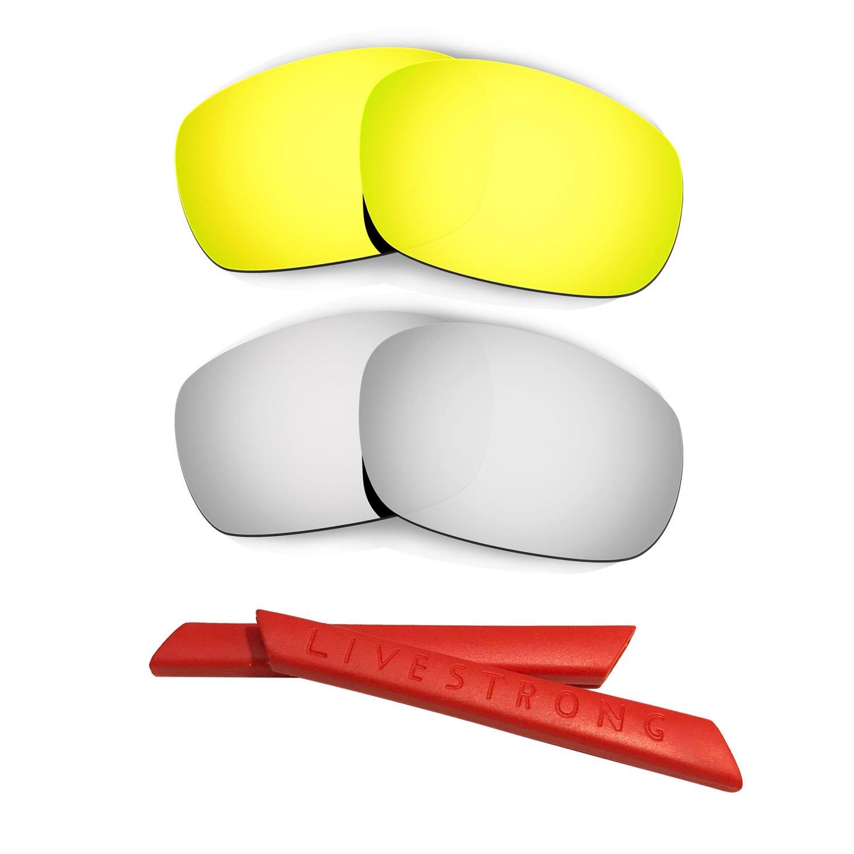 HKUCO 24K Gold/Titanium Polarized Replacement Lenses plus Yellow Earsocks Rubber Kit For Oakley Racing Jacket 3daiSUS