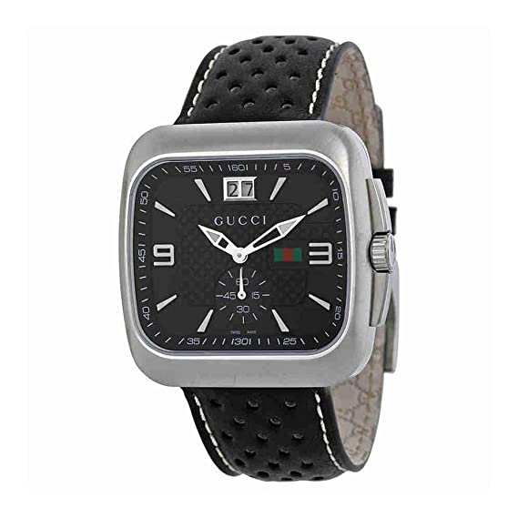 b4e9131a18d GUCCI G COUPE YA131302 GENTS BLACK CALFSKIN STAINLESS STEEL CASE DATE WATCH   Amazon.co.uk  Watches