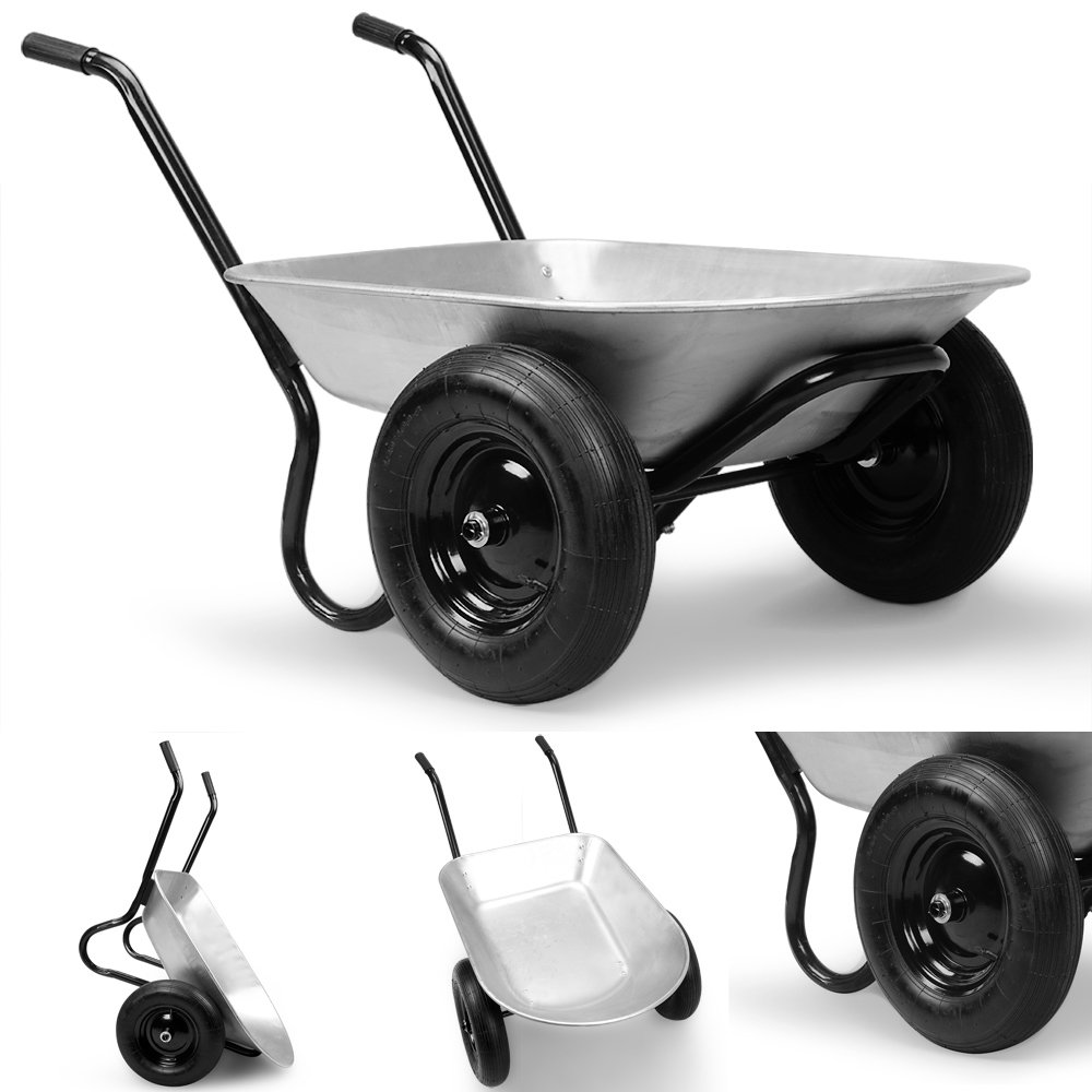 Waldeck Heavyload Wheelbarrow Garden Cart 2 Wheel Zinc Plated