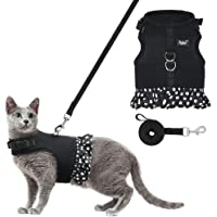 PUPTECK Breathable Cat Vest Harness Skirt and Leash Set for Medium and Large Kitties with Fashion Polka Dot Pattern for…