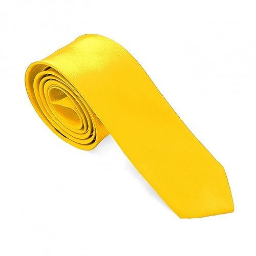 Tumundo 1 Krawatte Gelb Sonnengelb Binder Schmal Fliege Herren Damen