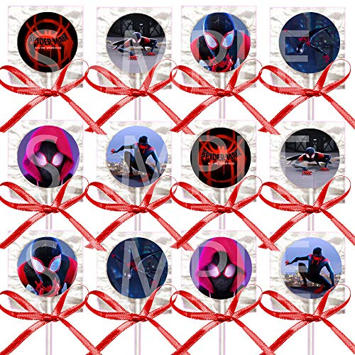 (Spiderman Lollipops into the Spider-Verse Movie Suckers Party Favors - Supplies Decorations with Red Ribbon Bows Party Favors -12 pcs)