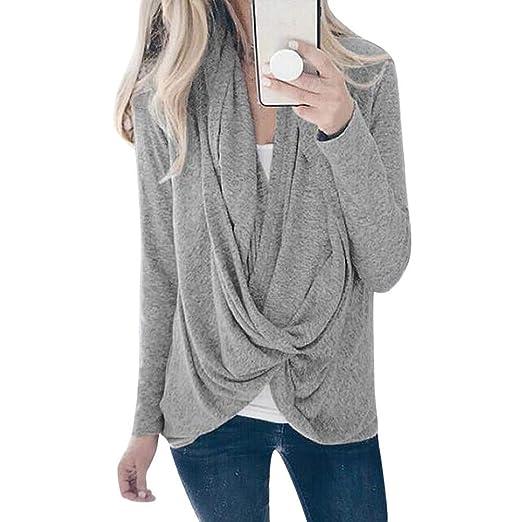 04e520cda1 Amazon.com  Dimanul Tops Women s Long Sleeve V Neck Asymmetric Hem Plain  T-Shirts Blouse Pullover Top Loose  Clothing