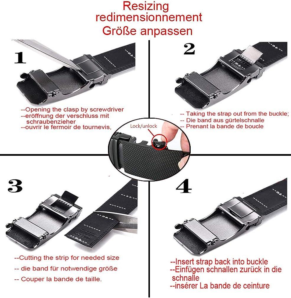 Cinture in Pelle a Cricchetto con Fibbia Automatica,Confezione Regalo BULLIANT Cintura Uomo