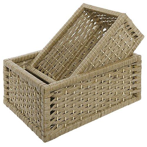 MyGift Rustic Woven Design Nesting Nursery Baskets, Storage Organizer Box Bins, Set of 2, Beige