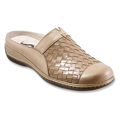 SoftWalk Women's San Marcos Woven Cement Burnished Veg Kid Leather 5.5 M