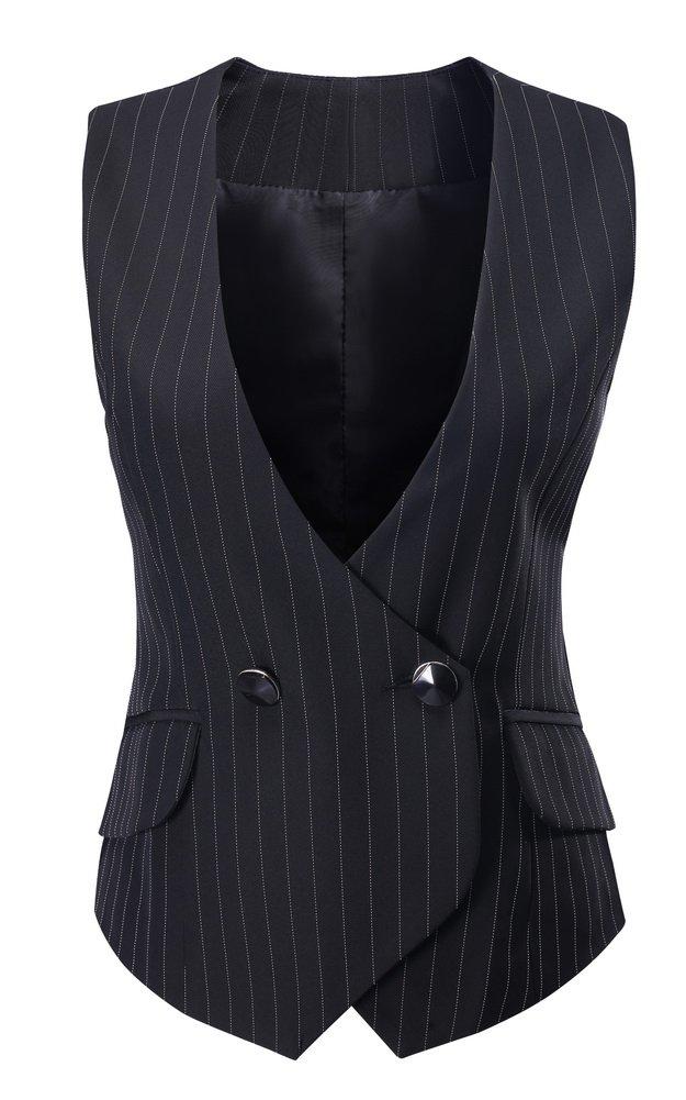 Vocni Women V-Neck Lined Slim Fit Waistcoat Dreesy Suit Vest Style 1_black Pinstripe US XS(Asia M) (Fit Bust 30.3''-32.7'')