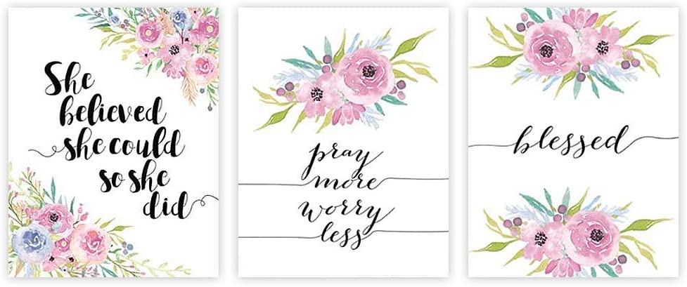 Inspirational Typography Art Print Painting, Lettering Watercolor Floral Cardstock Art Poster Motivational Quote Prints Wall Art Decor (set of 3, 8'' x 10'' ,Unframed)