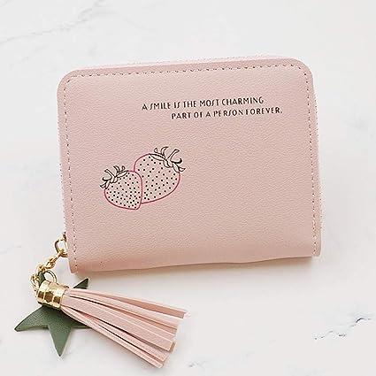 MrShuai - Monedero para Mujer (Piel auténtica), Color Rosa ...