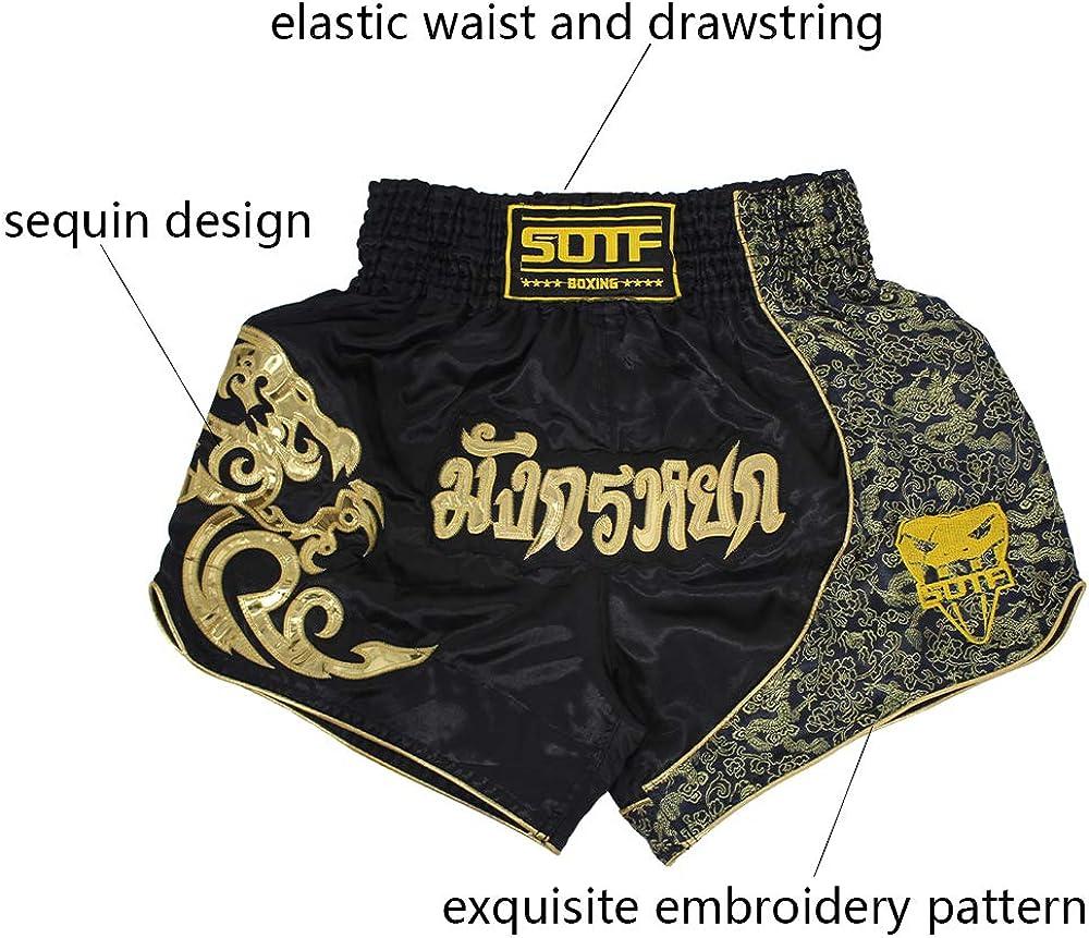 SOTF Muay Thai Fight Shorts for Kids Men Elastic Waist Kickboxing MMA Shorts: Clothing