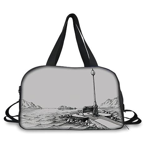 Amazon com: iPrint Travelling Bag,Sketchy,Bench and Lantern
