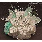 Corsage-Pin-on-Aqua-BEADED-Lily-with-roses-beads-and-rhinestones-Also-sold-with-matching-silk-boutonniere-Other-colors-offered-in-my-Amazon-store