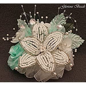 Corsage Pin on Aqua BEADED Lily with roses, beads, and rhinestones. Also sold with matching silk boutonniere. Other colors offered in my Amazon store 52