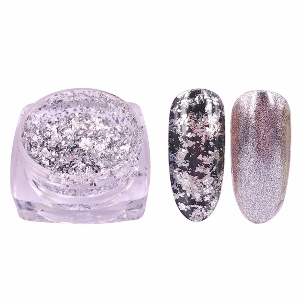 Mumustar Chameleon Reflective Nail Powder Flakes Sparkle Shinning Nail Glitter Sequins Dust Holo Laser Uv Gel Polish Manicure Art Decoration Accessory (H)