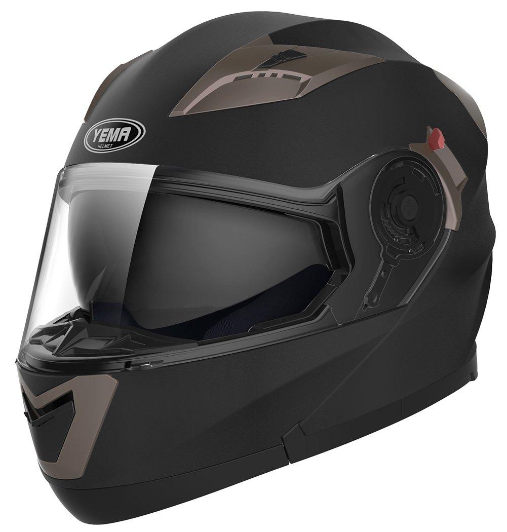 Amazon.es: YEMA Casco Moto Modular ECE Homologado YM-925 Casco de Moto Integral Scooter para Mujer Hombre Adultos con Doble Visera-Negro Mate-XL