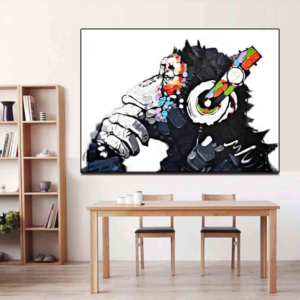 ZKPMJH Paintings,Living Room Hangings Headphones Orangutan Monkey Oil Paintings Household Decoration Canvas Drawing Drawing Drawing Living Room Hangings/_ 20X25Cm