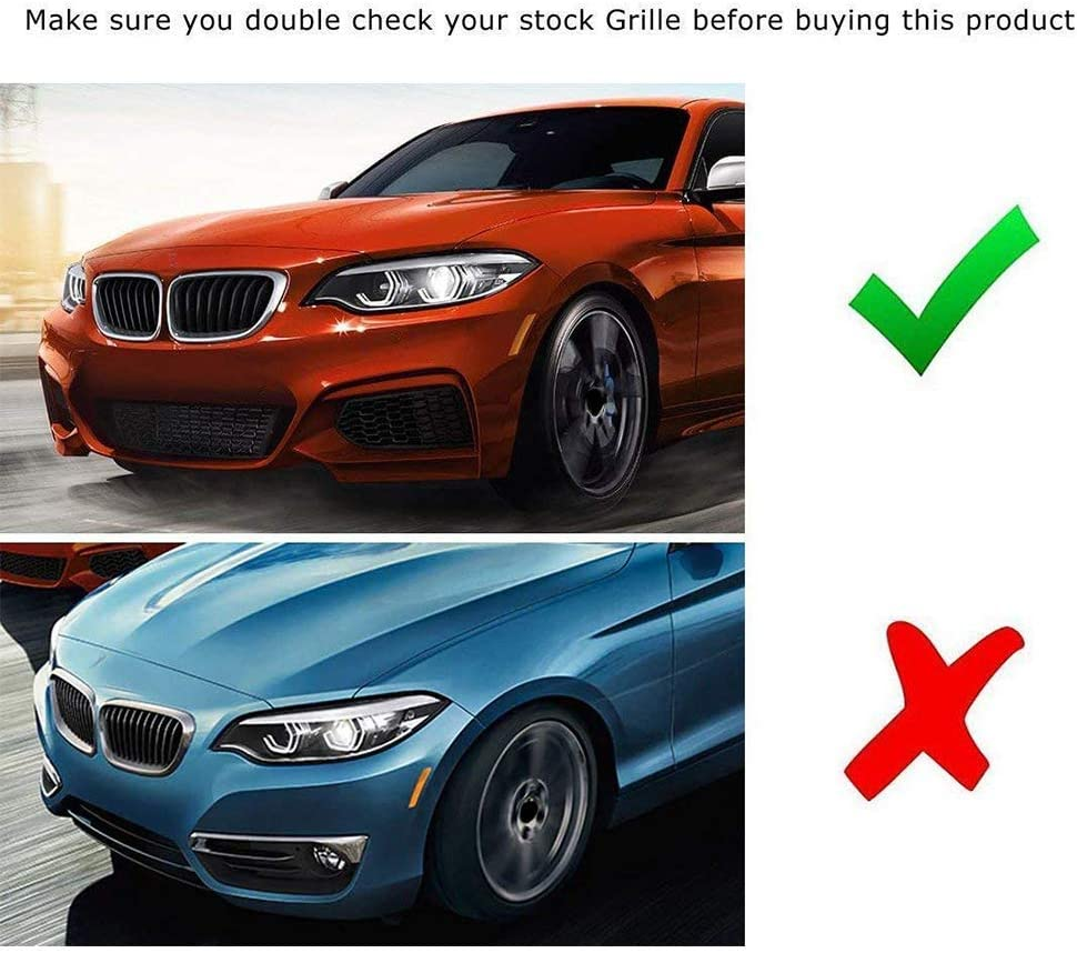 M Color BMW Grill Stripes Front Grille Grill Cover Insert Trim Clips 3Pcs 8 Grille carado for BMW 2 Series F22 F23 218i 220i 228i M235i 2014-2018