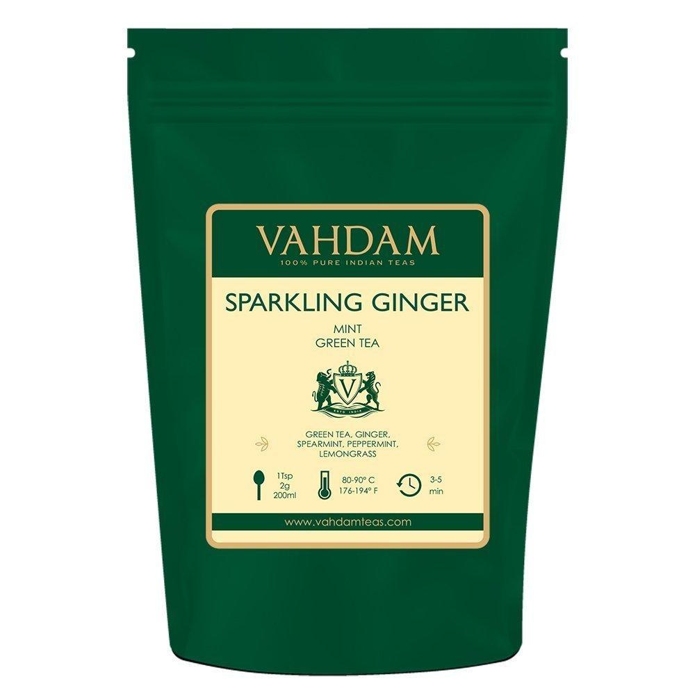 VAHDAM, Sparkling Ginger Mint Green Tea Loose Leaf (100 Cups) | RICH ANTI-OXIDANTS | Blend Of Ginger Tea & Mint Tea | Pure Green Tea Leaves | Brew as Hot Tea or Iced Tea | 3.53oz (Set of 2)